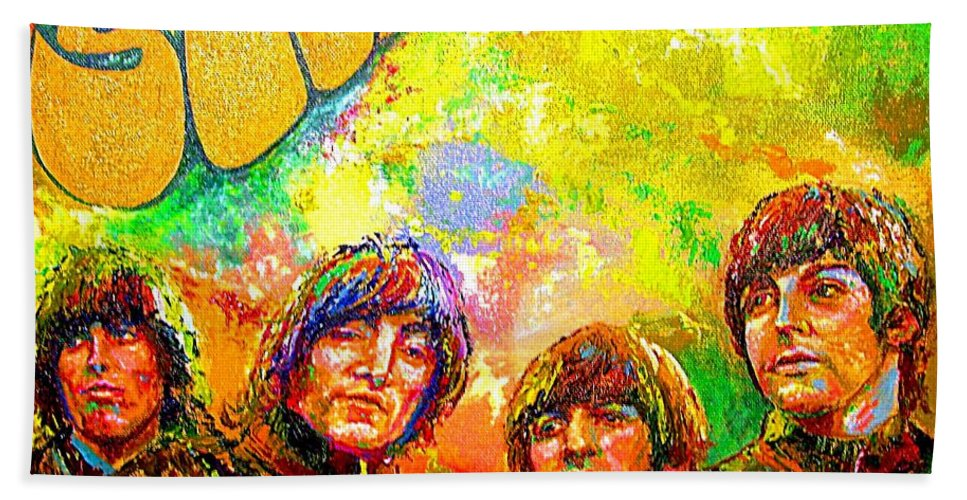Beatles Oil Painting Rubber Soul Original Bath Sheet featuring the painting Beatles Rubber Soul by Leland Castro