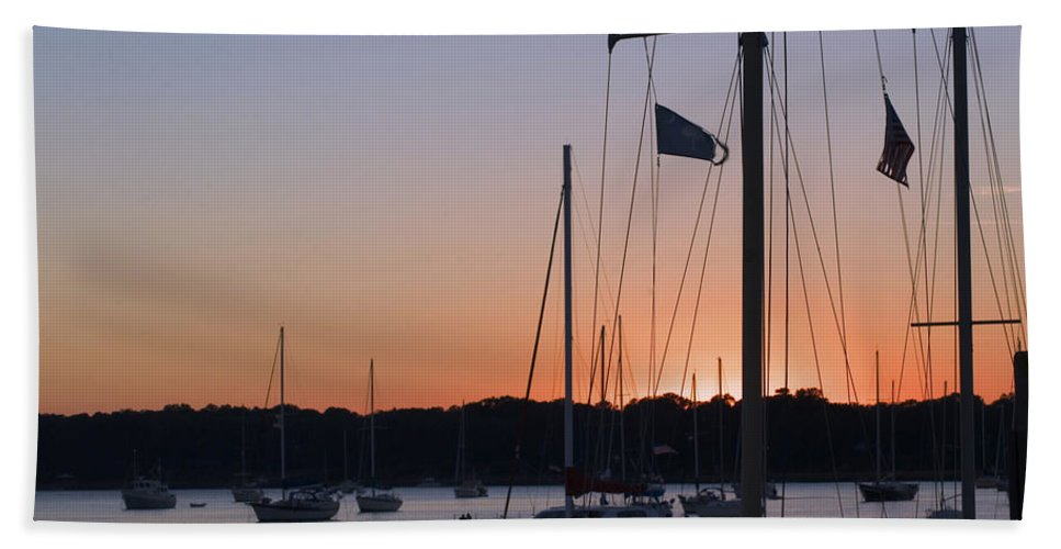 Ships At Harbor Hand Towel featuring the photograph Beaufort Sc Sunset by Bob Pardue