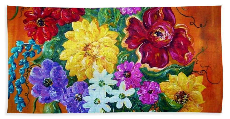 Flower Bath Towel featuring the painting Beauties In Bloom by Eloise Schneider