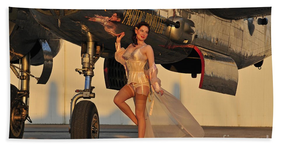 B-25 Hand Towel featuring the photograph Beautiful 1940s Pin-up Girl Standing by Christian Kieffer