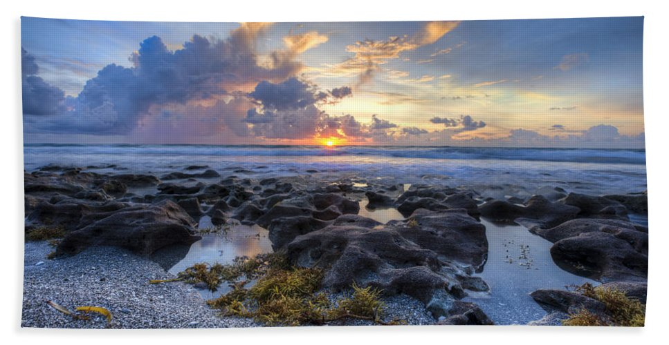 Clouds Hand Towel featuring the photograph Beautiful Beach by Debra and Dave Vanderlaan