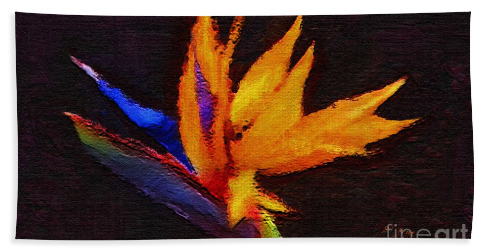 Bird Of Paradise Hand Towel featuring the painting Beautiful Bird by Kat Solinsky