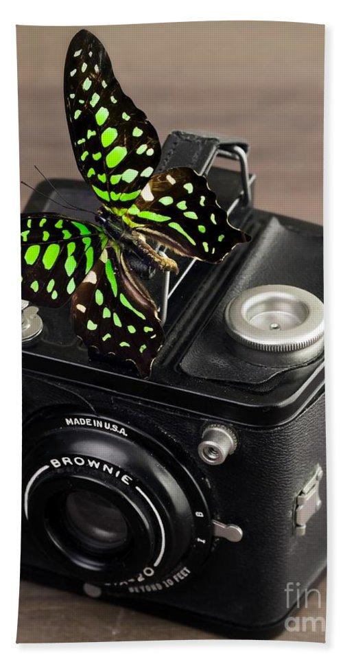 Butterfly Bath Towel featuring the photograph Beautiful Butterfly On A Kodak Brownie Camera by Edward Fielding