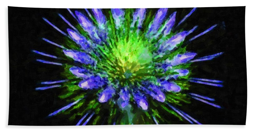 Beautiful Colorful Holiday Fireworks Bath Sheet featuring the painting Beautiful Colorful Holiday Fireworks 1 by Jeelan Clark