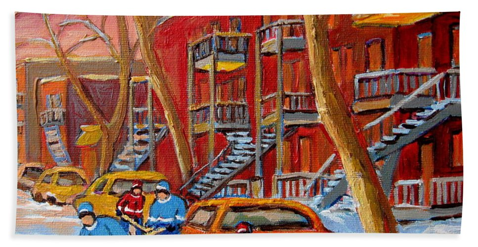 Hand Towel featuring the painting Beautiful Day For Hockey by Carole Spandau