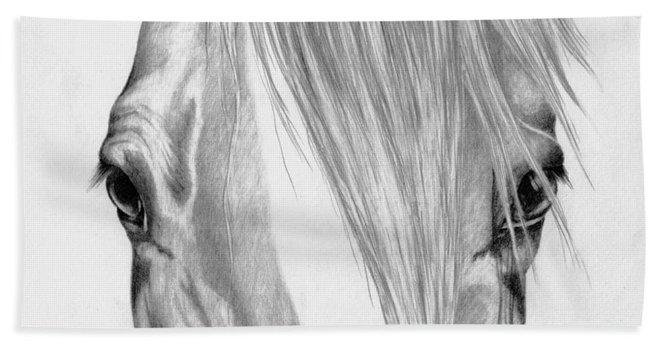 Equine Hand Towel featuring the drawing Beautiful Eyes by Robyn Green