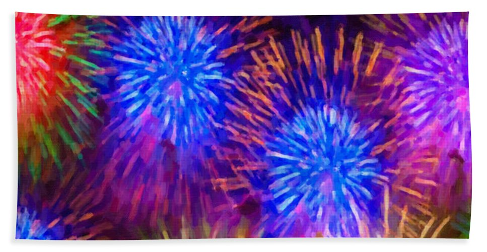 Beautiful Fireworks Bath Sheet featuring the painting Beautiful Fireworks 10 by Jeelan Clark