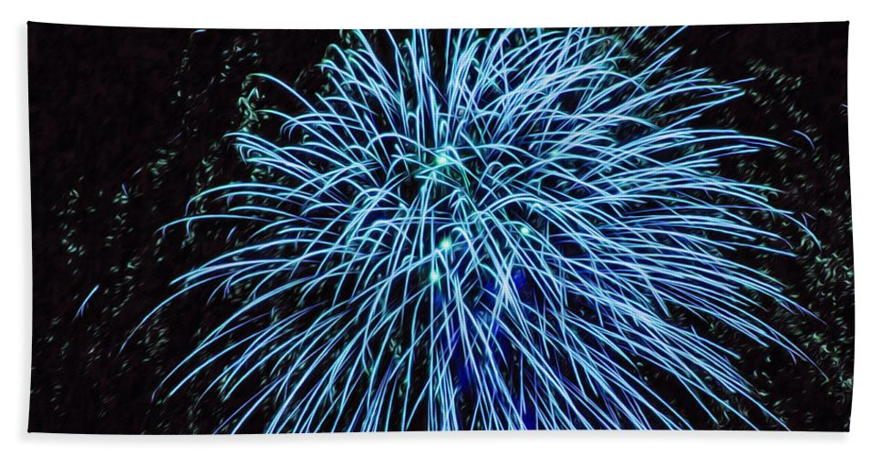Beautiful Fireworks Bath Sheet featuring the painting Beautiful Fireworks 13 by Jeelan Clark