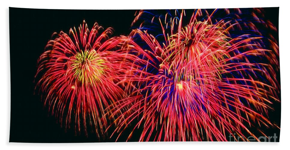 Beautiful Fireworks Bath Sheet featuring the painting Beautiful Fireworks 14 by Jeelan Clark