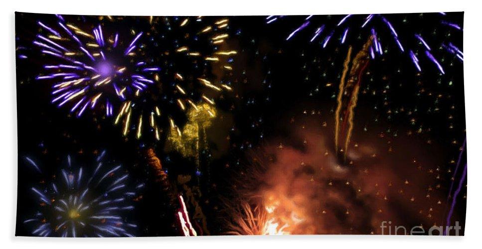 Beautiful Fireworks Bath Sheet featuring the painting Beautiful Fireworks 5 by Jeelan Clark