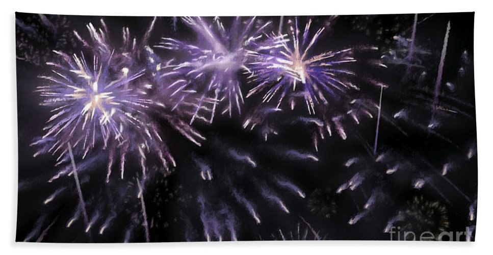 Beautiful Fireworks Bath Sheet featuring the painting Beautiful Fireworks 7 by Jeelan Clark
