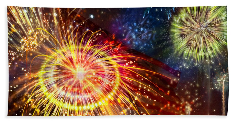 Beautiful Fireworks Bath Sheet featuring the painting Beautiful Fireworks 8 by Jeelan Clark