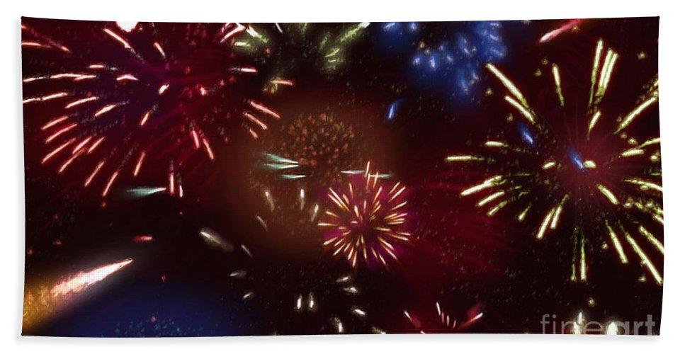 Beautiful Fireworks Bath Sheet featuring the painting Beautiful Fireworks 9 by Jeelan Clark
