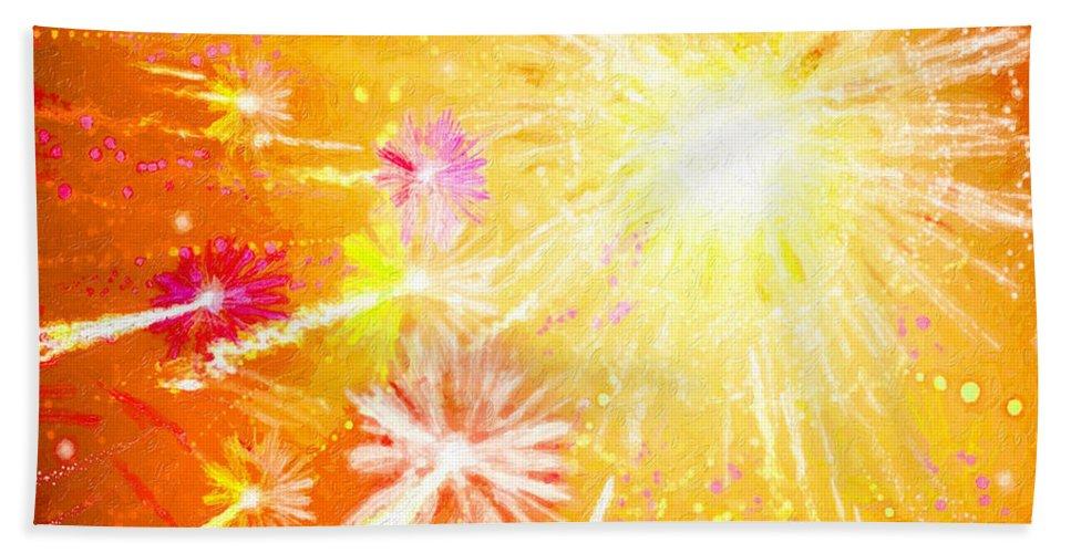 Beautiful Fireworks Bath Sheet featuring the painting Beautiful Fireworks by Jeelan Clark