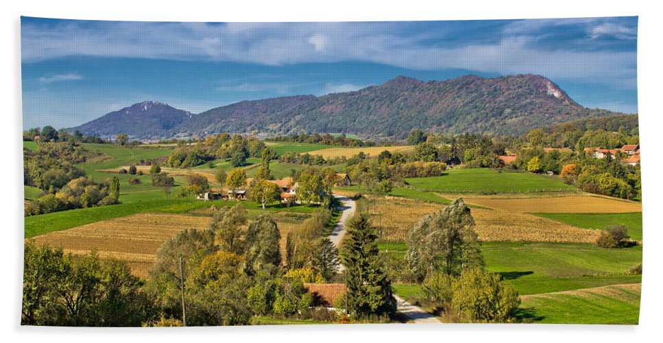 Croatia Hand Towel featuring the photograph Beautiful Green Scenery Of Prigorje Region by Brch Photography