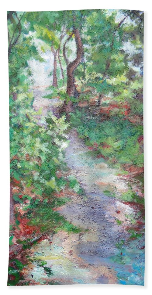 Forest Path Bath Sheet featuring the painting Beautiful Hike by Sheila Holland