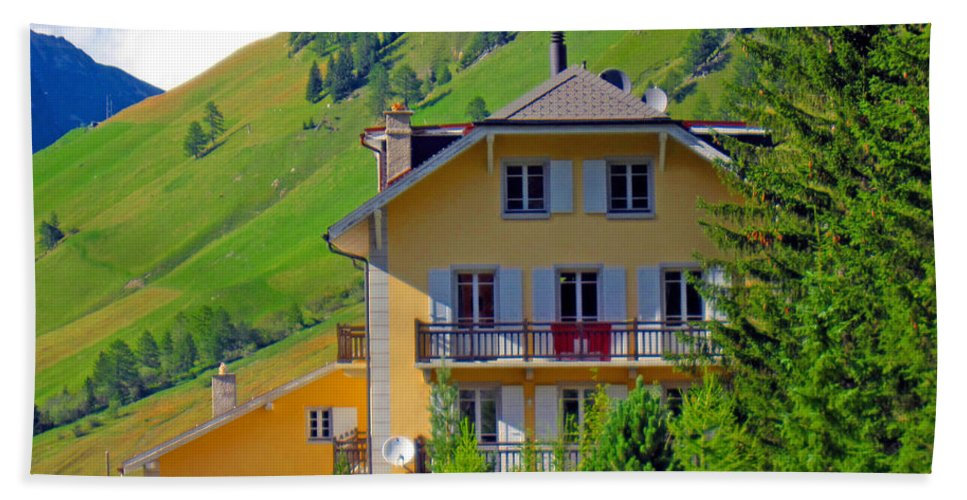 Alexandros Daskalakis Bath Sheet featuring the photograph Beautiful House In Mont Blanc by Alexandros Daskalakis
