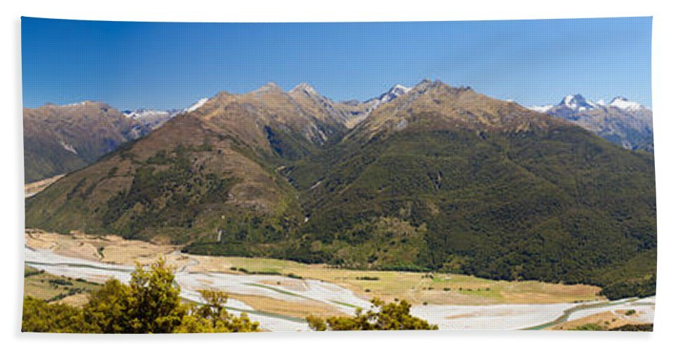 South Island Hand Towel featuring the photograph Beautiful Makarora Valley On South Island Of Nz by Stephan Pietzko