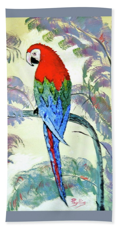 Red Hand Towel featuring the painting Beautiful Parrot For Someone Special by Phyllis Kaltenbach
