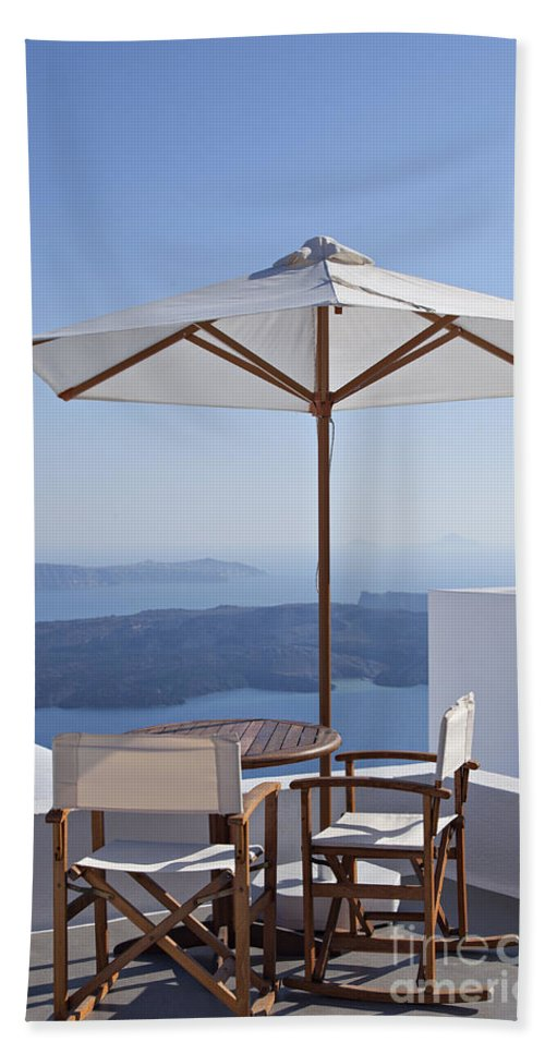 Aegean Hand Towel featuring the photograph Beautiful Santorini View by Sophie McAulay