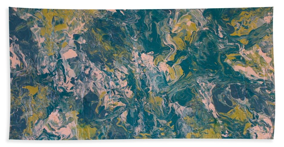 Teal Bath Towel featuring the mixed media Beautiful Scars by Shelly Sexton