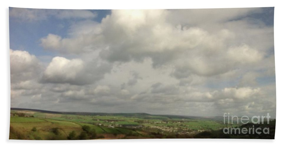 Yorkshire Hand Towel featuring the photograph White Clouds Over Yorkshire Dales by Joan-Violet Stretch