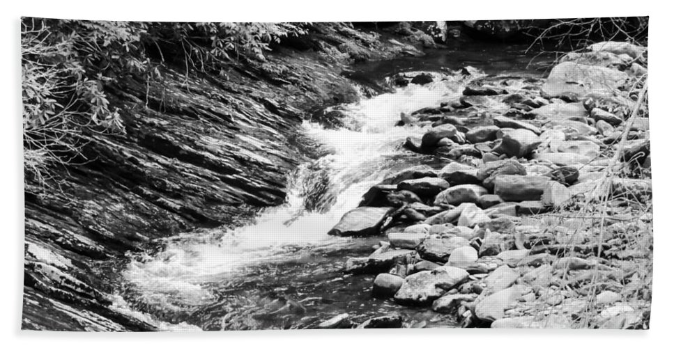 Cascade Hand Towel featuring the photograph Beautiful Stream Smoky Mountains Bw by Cynthia Woods