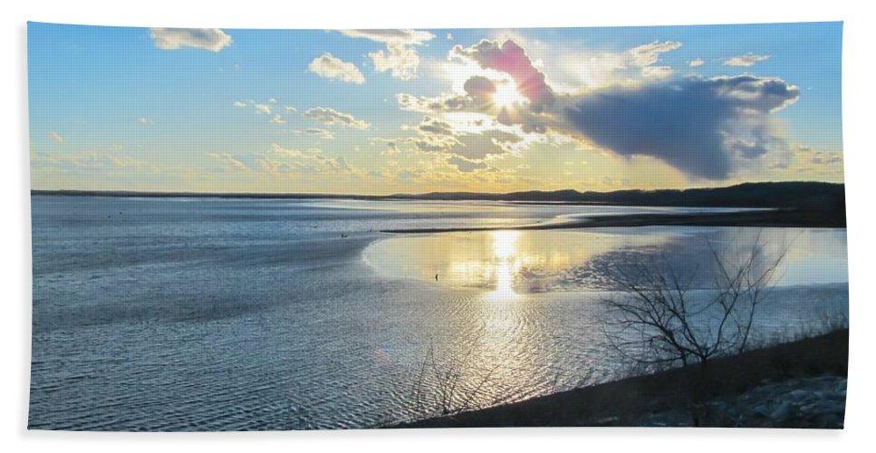 Beautiful Sunset Iowa River Bath Sheet featuring the photograph Beautiful Sunset Iowa River by Cynthia Woods