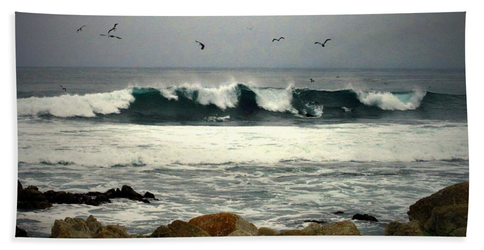 Bath Sheet featuring the photograph Beautiful Waves On The Monterey Peninsula by Joyce Dickens