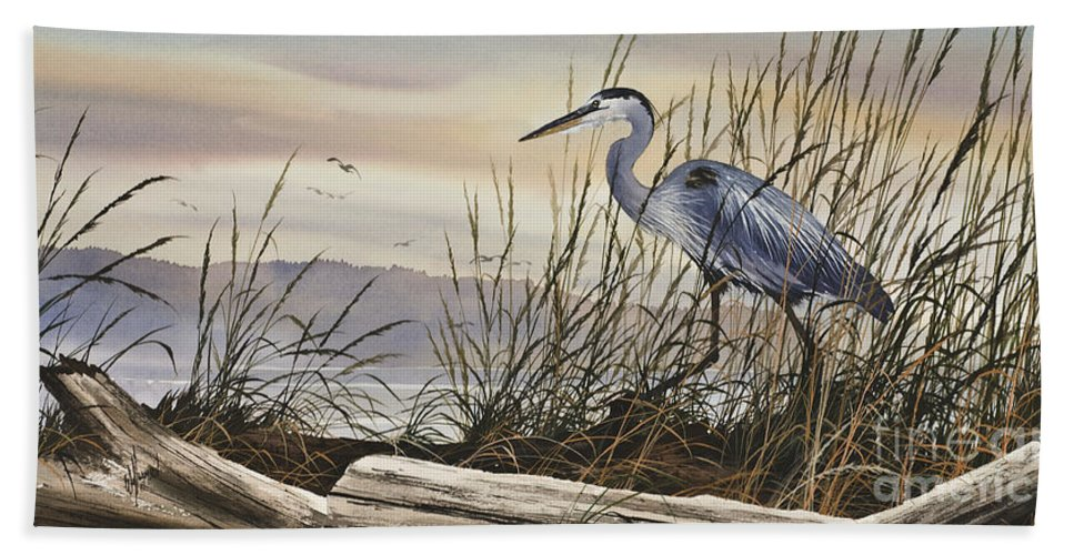 Heron Fine Art Prints Bath Sheet featuring the painting Beauty Along The Shore by James Williamson