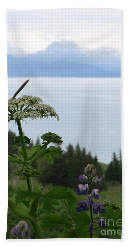 Lupines Hand Towel featuring the photograph Beauty As Far As The Eye Can Sea by Stacey May