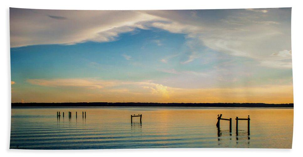 Beauty At Sundown Hand Towel featuring the photograph Beauty At Sundown by Mechala Matthews