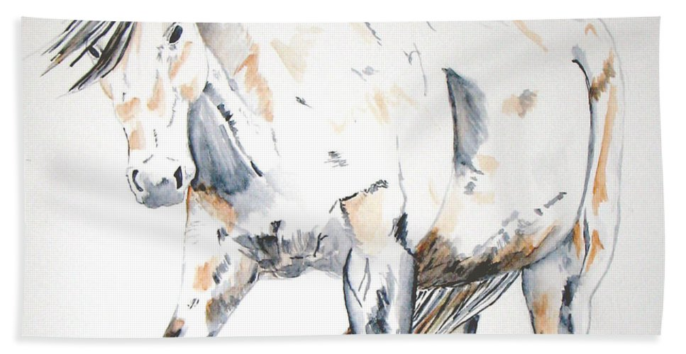 Horse Hand Towel featuring the painting Beauty by Crystal Hubbard