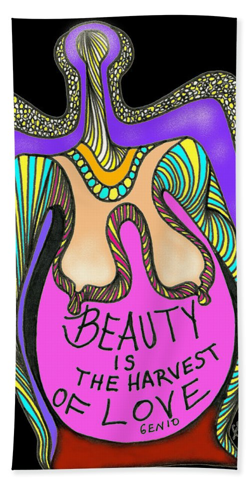 Genio Bath Sheet featuring the mixed media Beauty by Genio GgXpress