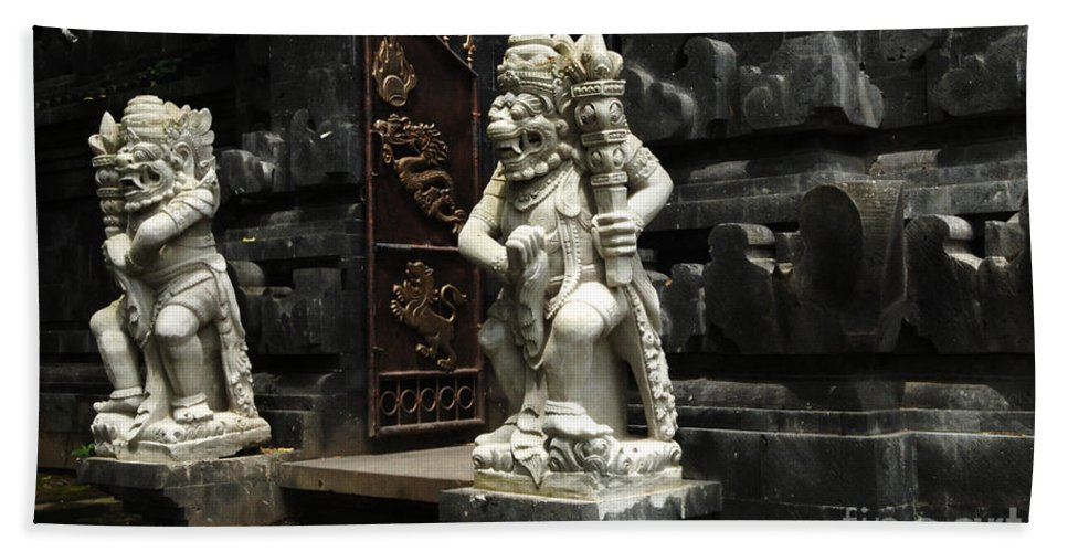 Bali Bath Sheet featuring the photograph Beauty Of Bali Indonesia Statues 1 by Bob Christopher