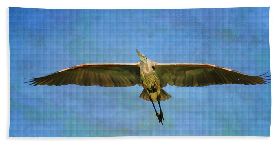 Blue Heron Bath Sheet featuring the photograph Beauty Of Flight Textured by Deborah Benoit
