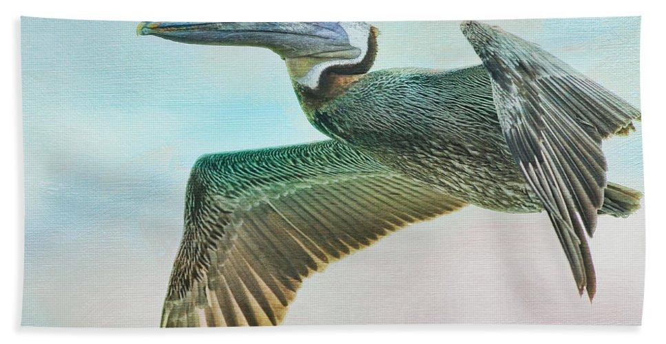 Pelican Bath Sheet featuring the photograph Beauty Of The Pelican by Deborah Benoit