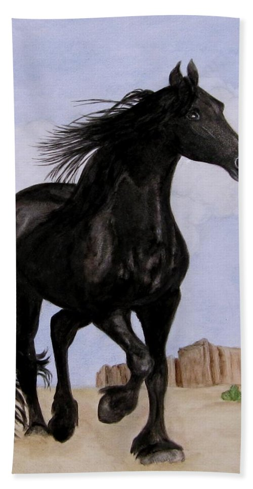 Friesian Horse Bath Sheet featuring the painting Beauty Running Free by Sandra Maddox