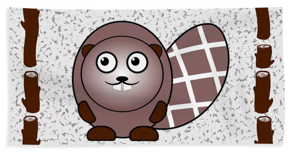 Beaver Hand Towel featuring the digital art Beaver - Animals - Art For Kids by Anastasiya Malakhova