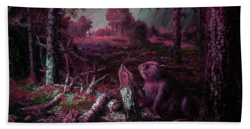 Genio Hand Towel featuring the mixed media Beaver by Genio GgXpress