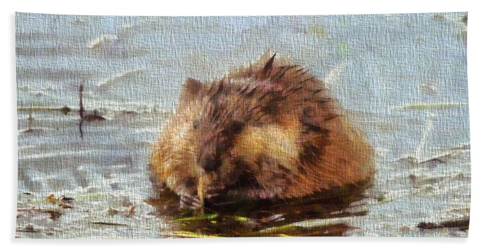 Beaver Portrait On Canvas Hand Towel featuring the painting Beaver Portrait On Canvas by Dan Sproul