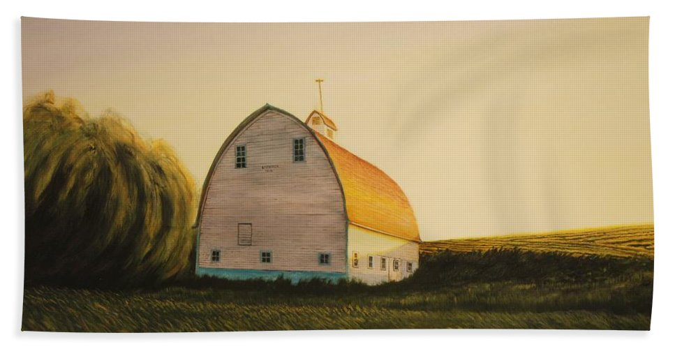 Landscape Bath Sheet featuring the painting Becker Barn by Leonard Heid