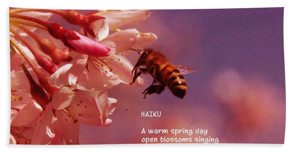 Bees Bath Sheet featuring the photograph Bee Haiku by Jeff Swan