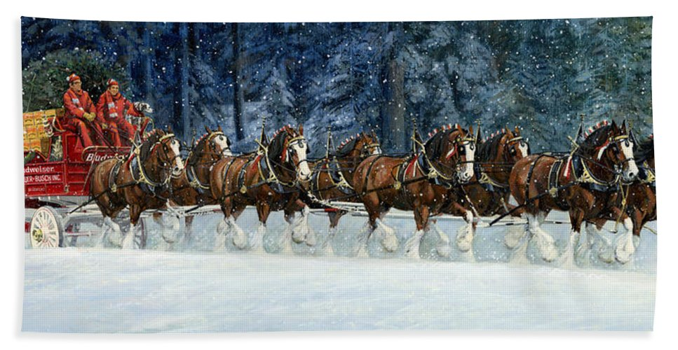 Don Langeneckert Hand Towel featuring the painting Clydesdales 8 Hitch On A Snowy Day by Don Langeneckert