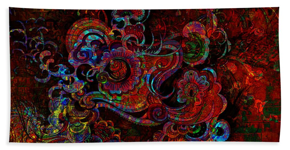 Digital Art Hand Towel featuring the digital art Beethoven's Swirl Dancing by Mary Clanahan