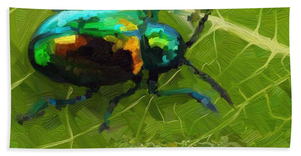 Beetle Hand Towel featuring the painting Beetle by Joseph A Newton