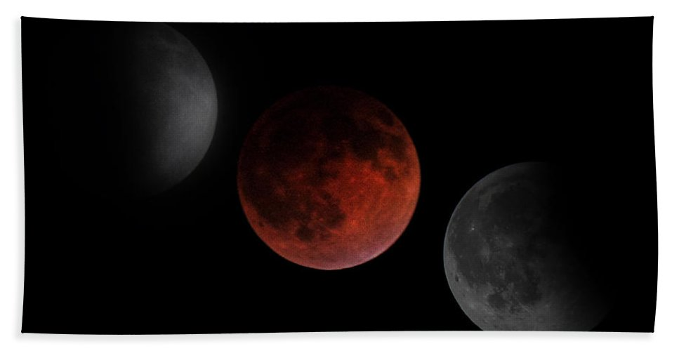 Lunar Eclipse Bath Sheet featuring the photograph Before During After by Randy Hall