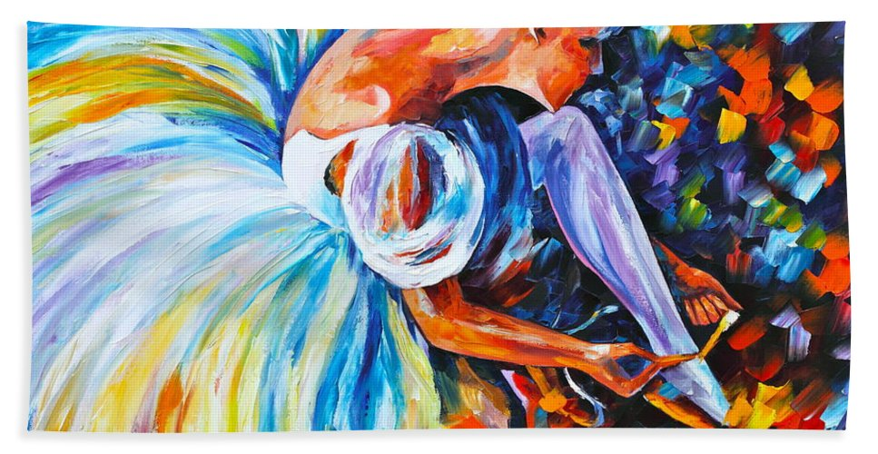 Ballet Bath Towel featuring the painting Before The Show 2 by Leonid Afremov