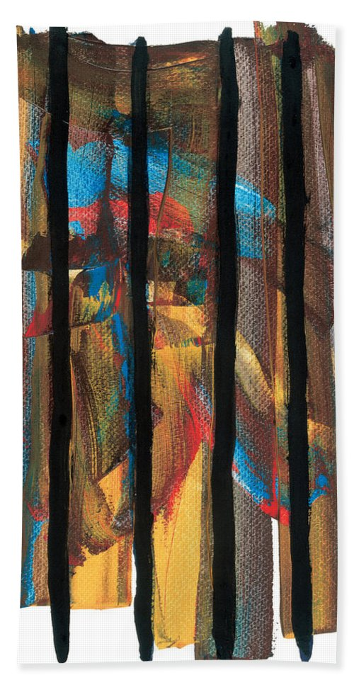 Contemporary Hand Towel featuring the painting Behind Bars by Bjorn Sjogren