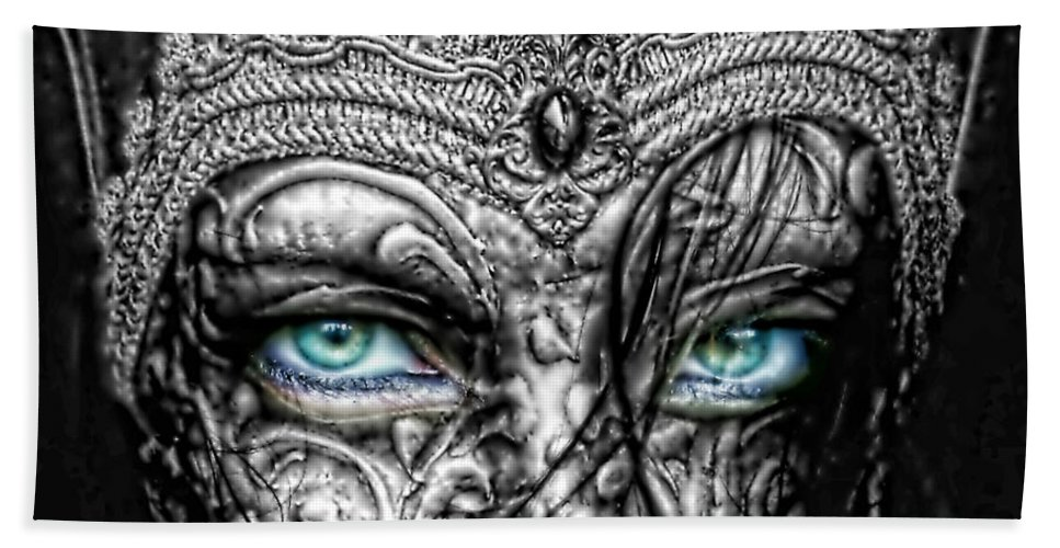 Behind Blue Eyes Bath Towel featuring the photograph Behind Blue Eyes by Mo T